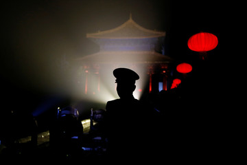 Paramilitary officer is seen against the light during a light show to celebrate the Chinese Lantern Festival at the Forbidden City on the last day of the lunar new year celebrations in Beijing