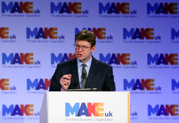 Britain's Secretary of State for Business Greg Clark gives a speech at the EEF National Manufacturing conference, in London