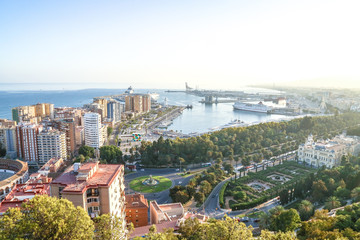 panorama view of the harbour of Málaga