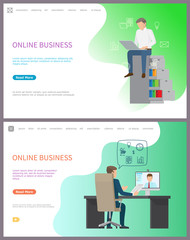 Online business, leader of company chatting on PC, conference with partner vector. Male talking to freelance with help of modern technologies at job. Website or webpage template landing page in flat