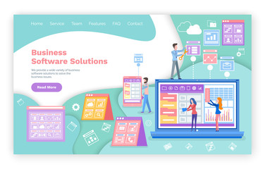 Web page for business software solutions vector. Graphics and charts or diagrams, laptop and entrepreneurs, website template, landing page flat style