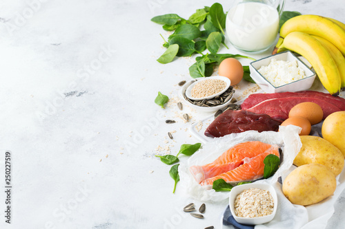 Assortment of healthy vitamin B6, pyridoxine source food