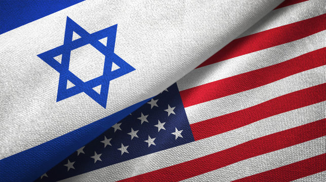 Israel and United States two flags textile cloth, fabric texture