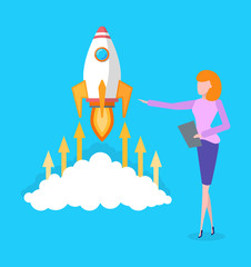 Rocket flying up, launching of spacecraft vector. Business concept, beginning of new project, woman holding clipboard with plan. Rapid success of idea