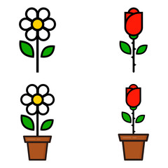 cartoon red rose and cute chamomile in a pot set