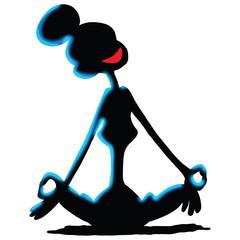 Cartoon woman sitting in a lotus position doing yoga vector illustration