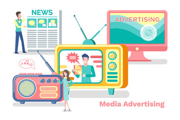 Media advertisement vector, television and radio with antenna, laptop screen. Advertisement product promotion in newspaper, show on tv broadcasting