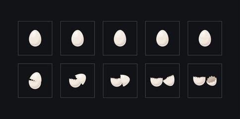 Cartoon 10 Steps animations broken egg in vector
