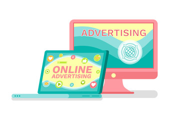 Laptop and computer, online advertising services vector. Promo and commercial through Internet and electronic devices and technologies, social media