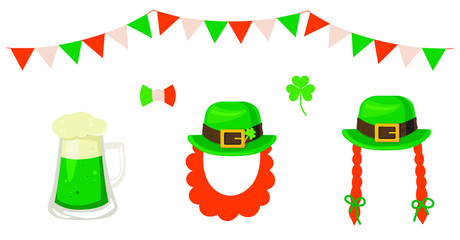 St. Patrick's Day vector decoration: hat, beard, clover, beer