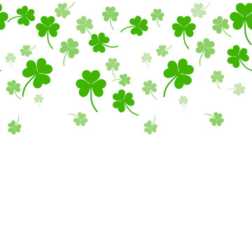 St. Patrick's day doodle seamless background with tree leaf clover