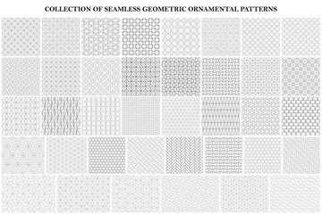 Big bundle of geometric seamless patterns - ornamental symmetric design. Collection of vector decorative backgrounds Wall mural