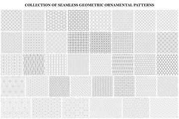 Big bundle of geometric seamless patterns - ornamental symmetric design. Collection of vector decorative backgrounds