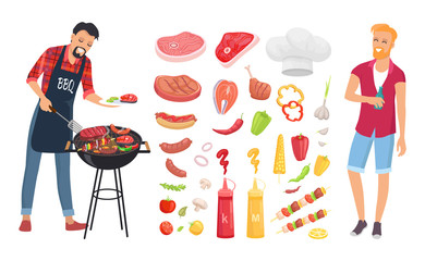 BBQ barbecue veggies and meat icons vector. Man roasting beef, pork and brochettes. Sauces ketchup and mustard, salmon and sausages, vegetables set