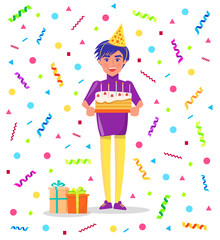 Birthday party celebration, man in festive hat with cake in hands on background of color tinsels. Present gift boxes and guy on bday with sweets