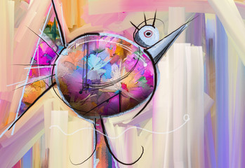Abstract colorful fantasy oil, acrylic painting. Semi- abstract paint of bird and flower. Spring, summer season nature background. Hand painted, children painting style