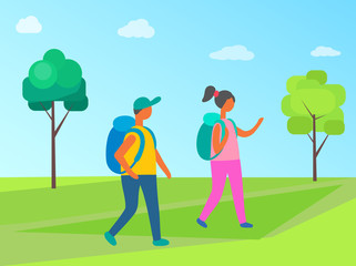 Couple man and woman with backpacks walking in forest. Cartoon people in hiking tour, vector tourists with rucksacks, girl and boy together in flat style