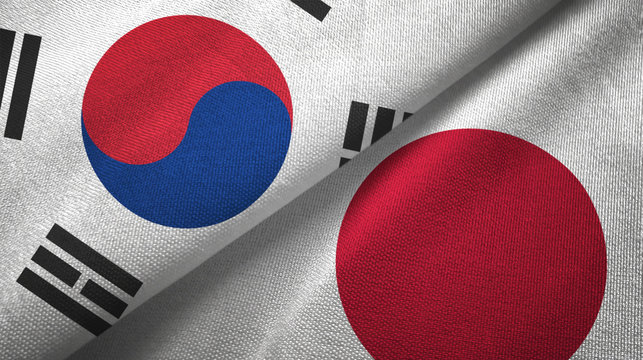 South Korea and Japan two flags textile cloth, fabric texture