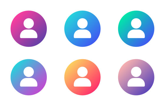 user account ui web button. ui elements. user vector icons on trendy gradients for web, mobile and user interface design