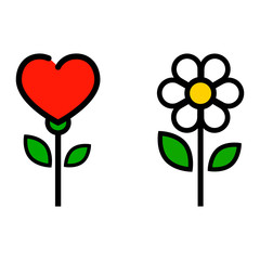 cartoon cute chamomile and flower heart vector