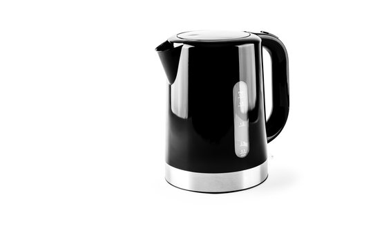 black electrical kettle isolated on white