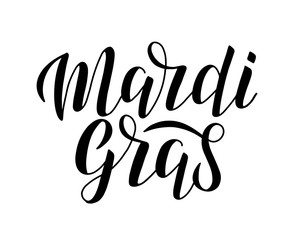 Mardi Gras calligraphy lettering poster. Fat Tuesday celebration lettering card. Mardi Gras lettering logo for cards, postcards, posters, banners. Vector EPS 10