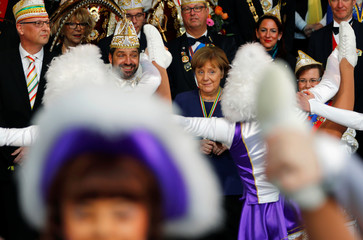 German Chancellor Merkel attends a reception of German carnival societies at the Chancellery in Berlin