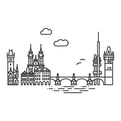Prague cityscape with landmarks isolated line icon style vector illustration