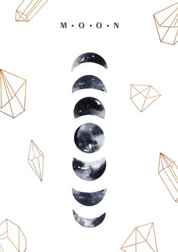 Watercolor moon and geometric frames