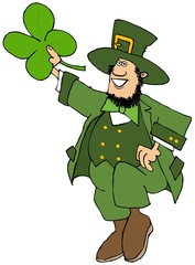 Leprechaun dancing a jig and holding a large 4 leaf clover
