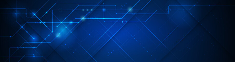 Vector banner design, illustration technology with line pattern over dark blue background. Modern hi tech digital technology concept. Abstract internet communication, future science techno design