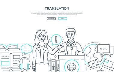 Translation - modern line design style web banner