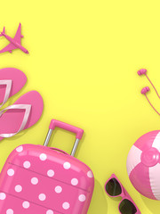 3d render of suitcase with vacation stuff over yellow background
