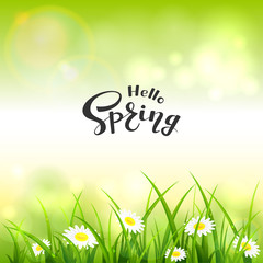 Green Nature Background and Lettering Hello Spring