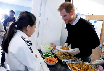 Britain's Prince Harry visits 'Fit and Fed' youth programme in London