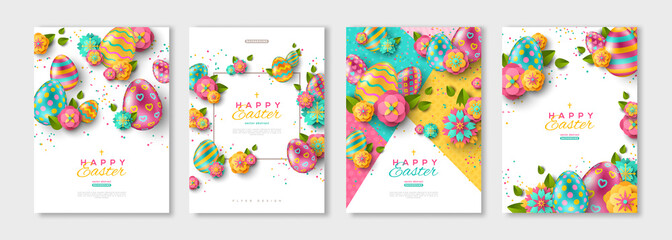 Easter posters or flyers set Wall mural