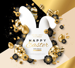 Easter gold rabbit frame