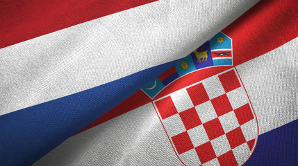 Netherlands and Croatia two flags textile cloth, fabric texture
