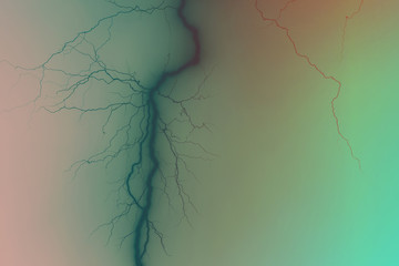 abstraction, lightning, veins, gradient. Photo of lightning with gradient effect.