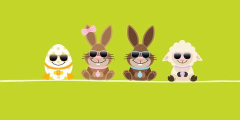 Schaf, 2 Osterhasen Mädchen/Junge & Osterei Sonnenbrille Banner Grün