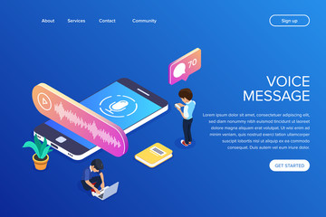 Isometric voice message concept. People listen to audio messages using a mobile phone or laptop. Can use for web banner, infographics, hero images.