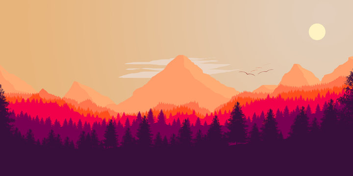 Forest and mountains silhouette, vector illustration