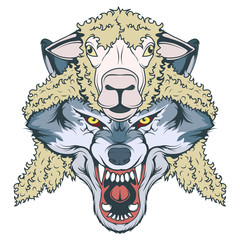 wolf in sheep's clothing, wolf mascot. vector graphic to design