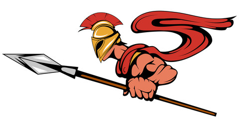 colored spartan warrior with a spear in his hand, suitable as logo or team mascot. vector graphic to design