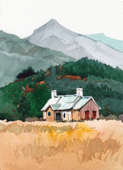 cottage watercolor hand drawn