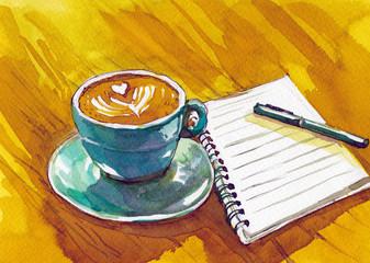 watercolor vintage cup and pen watercolor
