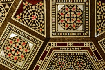 Oriental pattern,  texture, background. Gold tiles, Arabic, Ottoman's retro textile.