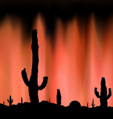 Silhouette of blooming cactuses on the background of night sky. Dangerous place. Abstract  brown lights. Neon presentation.