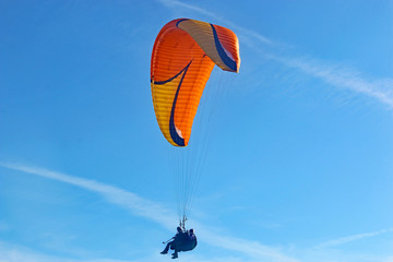 Wall Mural - Tandem paraglider in a blue sky