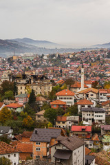 View from the high point to Sarajevo in the mist in the morning. Bosnia and Herzegovina